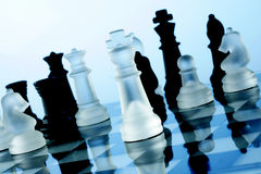 Chess game. A game of chess comes to an end. The king is checkmated Stock Image