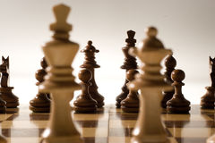 Chess game. Piting black against white in a game of skill and intelligence Stock Photo
