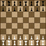 Chess Game. Illustration of a chess game with wood grain board and chess men royalty free illustration