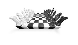 Chess game abstract concept 3d illustration with black and white glass chess pieces. Royalty Free Stock Image