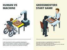 Chess game banners. Gamers playing at board tactical game various figures rook knight queen intellectual competition. Vector isometric. Illustration of chess stock illustration
