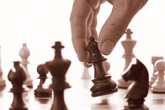 Chess game black queen advances Stock Photography