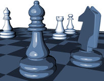 Chess game blue graphic illustration with pawns Royalty Free Stock Image
