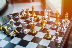 Chess game board business competition concept with crisp colors Royalty Free Stock Photography