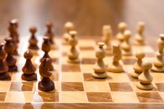 Chess game board. With pieces of play on it Stock Photography