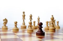 Chess game board scene. White background royalty free stock photos