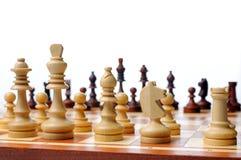 Chess game board scene. White background stock photos