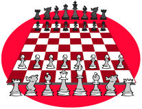 Chess game, cartoon Royalty Free Stock Photography