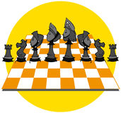 Yellow Chess Game, Cartoon. Chess game on cartoon style Stock Photos