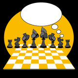 Yellow Black Chess Game, Cartoon. Chess game on cartoon style Stock Photos