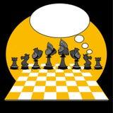 Yellow Black Chess Game, Cartoon. Chess game on cartoon style Royalty Free Illustration