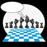 Chess game, cartoon Royalty Free Stock Photo