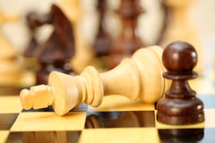 Chess game-Check mate. The king is checkmated, game of chess comes to an end Royalty Free Stock Photo