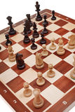Chess game on chessboard Royalty Free Stock Image