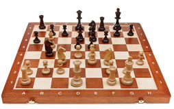 Chess game on chessboard Stock Images
