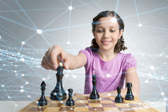 Chess game for clever mind . Mixed media Royalty Free Stock Image