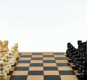 Chess Game Close up. Chess figures, ready to start the game Stock Photo