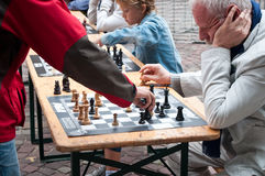 Chess game demonstration in outdoor Stock Photography