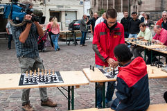 Chess game demonstration in outdoor Royalty Free Stock Images