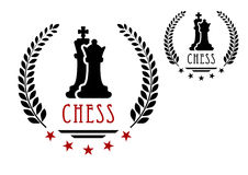 Chess game emblem with king and queen. Chess game emblem or logo with black silhouettes of king and queen framed laurel wreath with stars and caption Chess Royalty Free Stock Photos