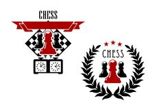Chess game emblems and symbols. Chess game emblems or symbols with pawns, chessboard and game clock Stock Photography