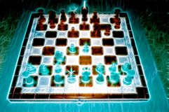 Chess game. Fantasy board. stock illustration