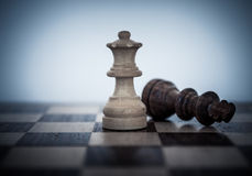 Chess game. Fight and win royalty free stock photography