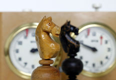Chess game figure time clock game play strategy Royalty Free Stock Photos