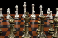 Chess Game with Focus on Light Pieces Royalty Free Stock Photo