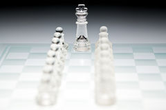 Chess game in glass Royalty Free Stock Photos