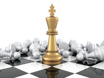 Chess Game. Gold Chess King winning on White Pawns. Three Dimensional Rendering Stock Photography