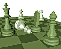 Chess game graphic illustration with pawns and chess king Royalty Free Stock Photography