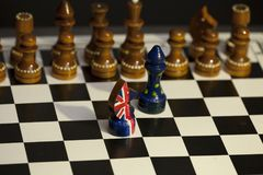 Chess game Great Britain and the European Union Stock Photos