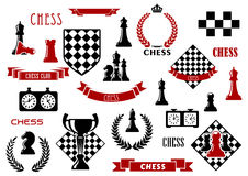 Chess game and heraldic design elements. Chess game items and heraldic elements with chessboard, queen, king, bishop, knight, rook and pawn, clock, trophy vector illustration