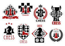 Chess game heraldic symbols and emblems Stock Image