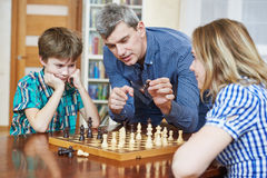 Chess game at home. Family hobby pastime Royalty Free Stock Images