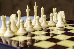 Chess game, horse is the piece in focus. The beginning of the chess game. The first knight`s move. Difficult strategy, non-standard thinking stock photography