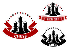 Chess game icons with black queens and pawns Royalty Free Stock Photos