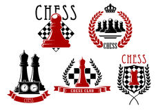 Chess game icons with boards, clock and pieces Royalty Free Stock Photography