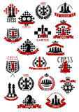 Chess game icons with chessboards and pieces. Chessboards and pieces  for chess game icons design with king and queen, rook and knight, pawn and clock elements Stock Photo