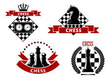 Chess game icons with chessmen and boards Royalty Free Stock Photo