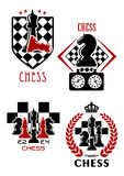 Chess game icons with chessmen and timer Royalty Free Stock Image