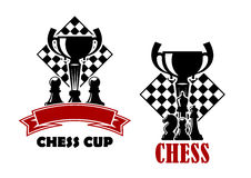 Chess game icons with cup and chessmen. Chess cup tournament emblems or logo design templates showing turned chessboards with trophy cups and black pawns, king royalty free illustration