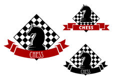 Chess game icons with horse and chessboard Royalty Free Stock Photography
