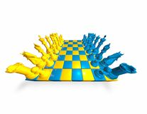 Chess game illustration with blue and yellow pieces. Royalty Free Stock Image