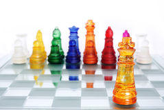 CHESS GAME-KING. A game of chess comes to an end. The king is checkmated Stock Images