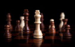 Chess game with the king in the center Royalty Free Stock Images