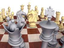 Chess game with knights confronting. Close-Up of a metal chess set on a wooden board, isolated over white with knights confronting Royalty Free Stock Photography