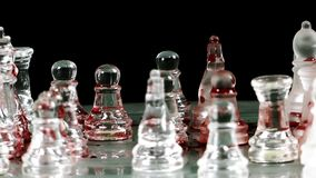Chess game made of glass. Video stock video footage
