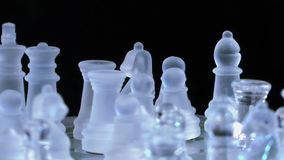 Chess game made of glass. Video stock video